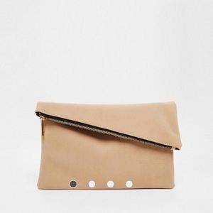 ASOS beige square clutch bag with slanted top